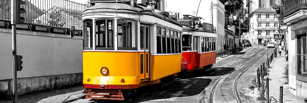 Fototapete mit Straßenbahnen