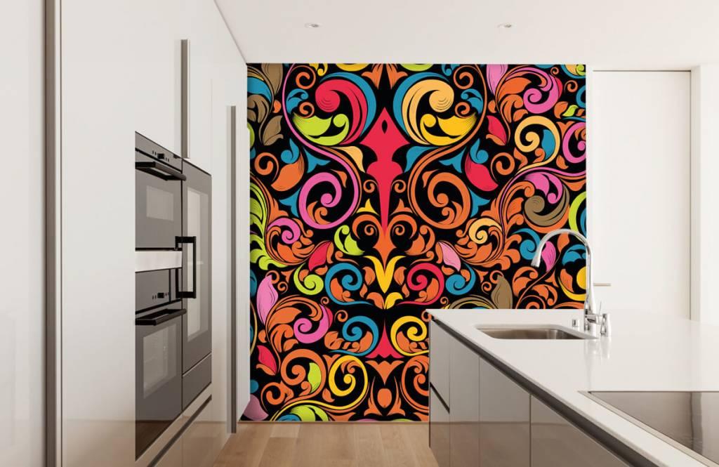 Abstrakte Tapete - Farbige Figuren - Küchen 4