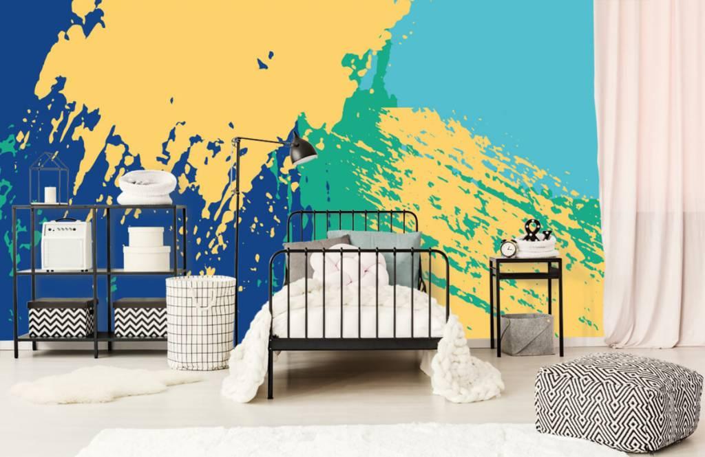 Abstrakte Tapete - Farbige abstrakte Flächen - Hobbyzimmer 1