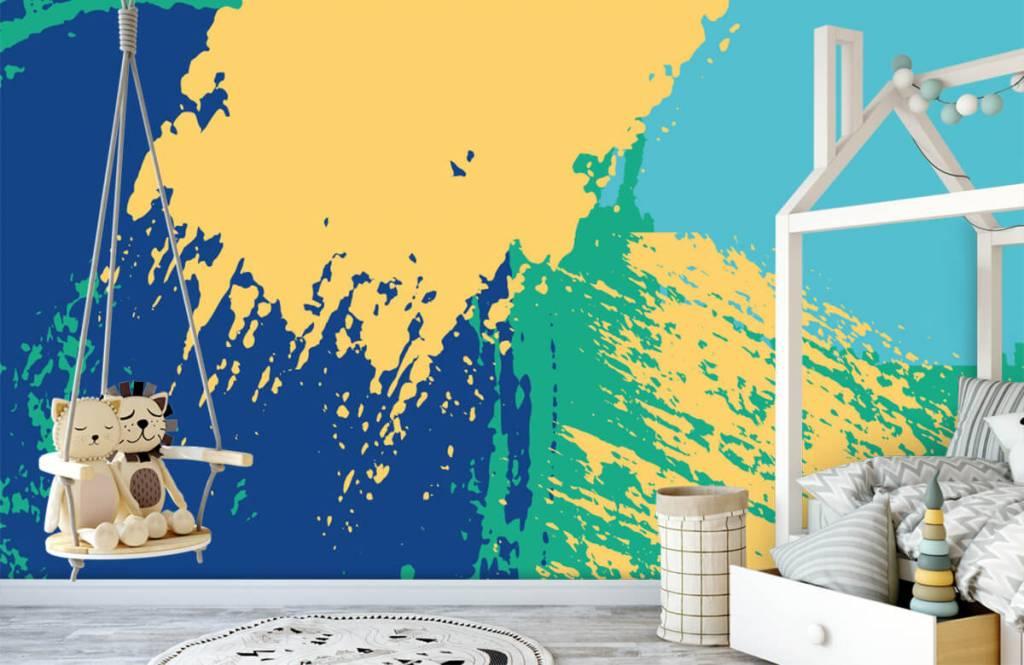 Abstrakte Tapete - Farbige abstrakte Flächen - Hobbyzimmer 3