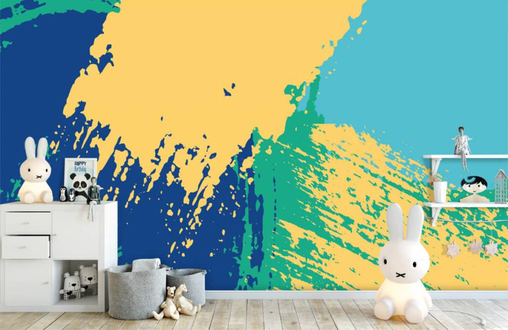 Abstrakte Tapete - Farbige abstrakte Flächen - Hobbyzimmer 4