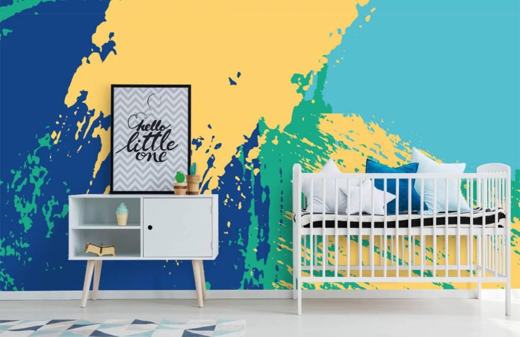 Abstrakte Tapete - Farbige abstrakte Flächen - Hobbyzimmer 6