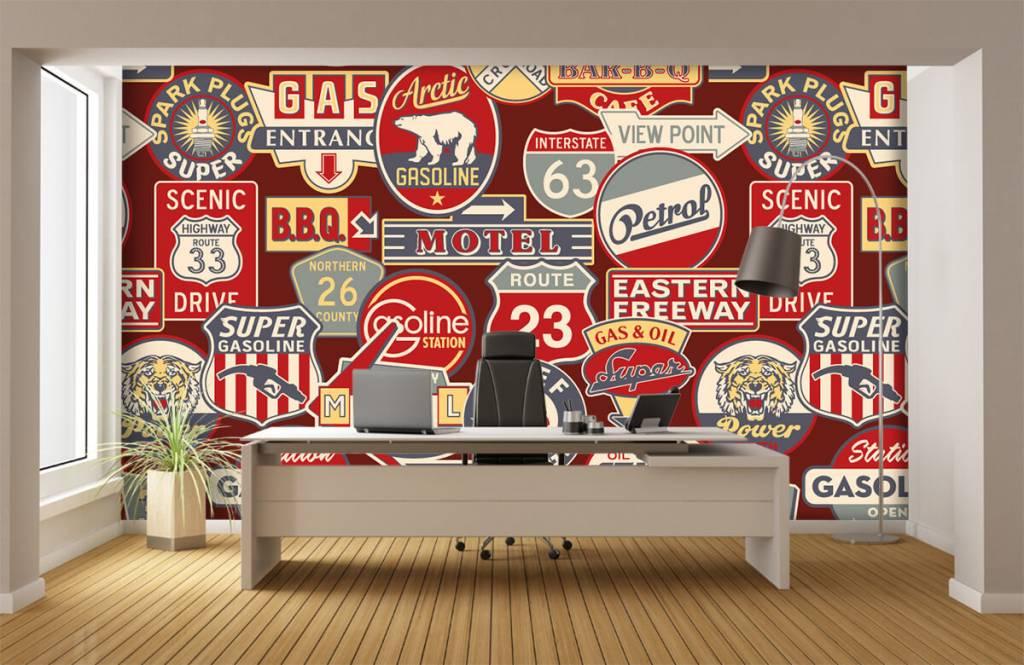 Tapete mit Texte - Amerikanische Werbeschilder - Kinderzimmer 4