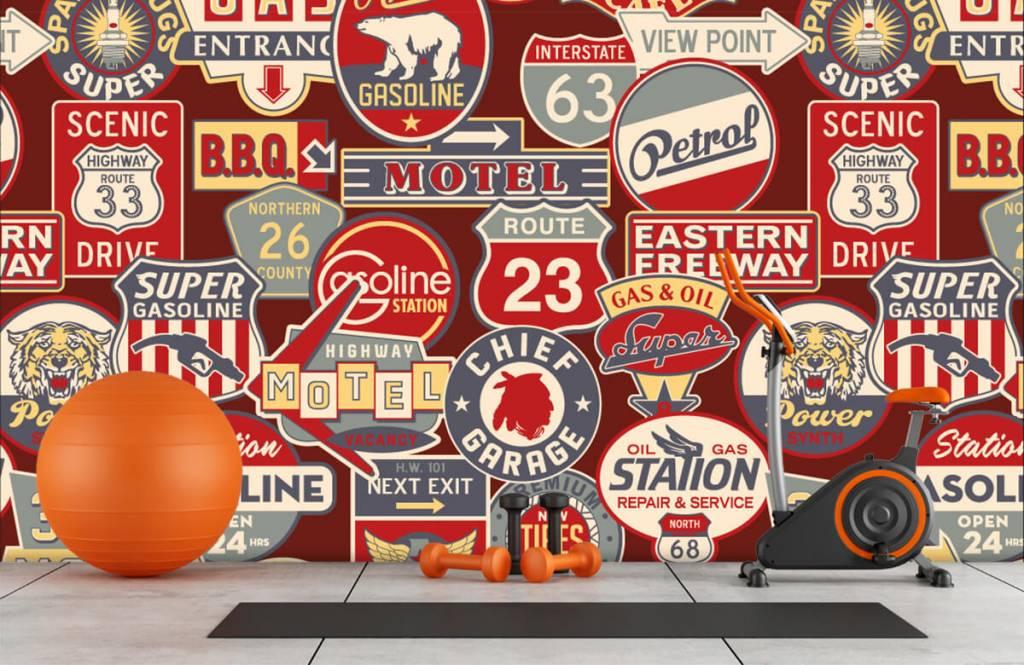 Tapete mit Texte - Amerikanische Werbeschilder - Kinderzimmer 8