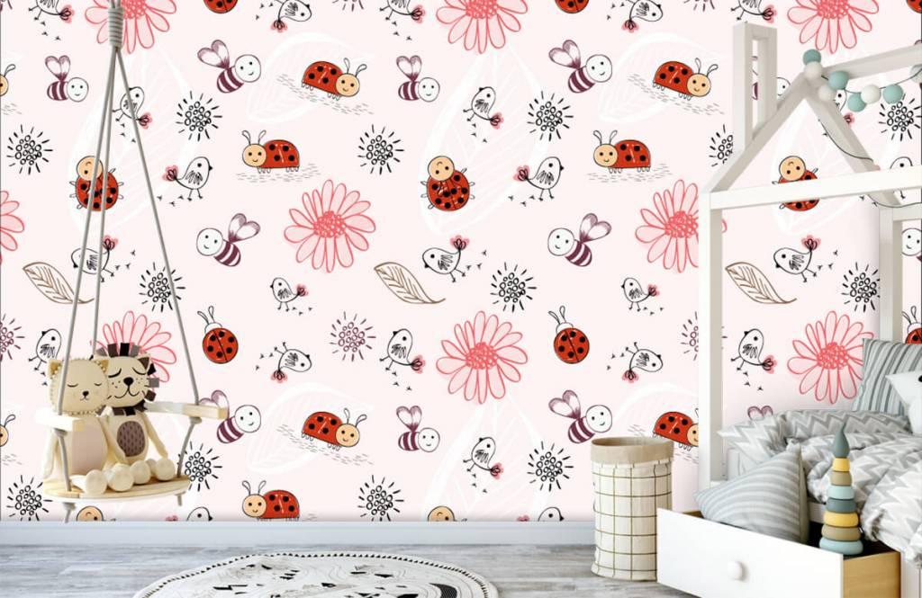 Baby Tapete - Blumen und Käfer - Babyzimmer 1