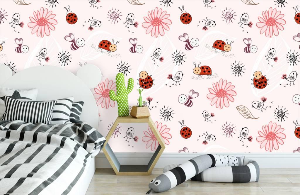 Baby Tapete - Blumen und Käfer - Babyzimmer 3