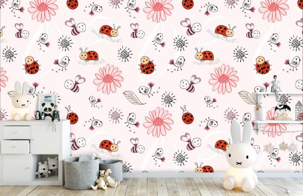 Baby Tapete - Blumen und Käfer - Babyzimmer 5