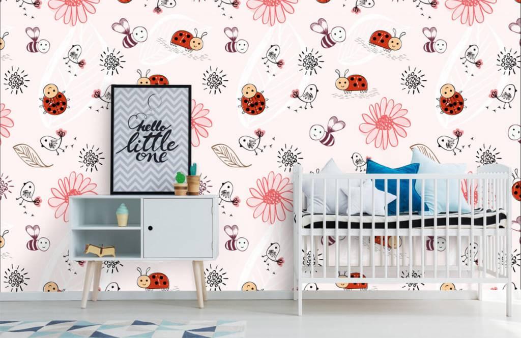 Baby Tapete - Blumen und Käfer - Babyzimmer 7
