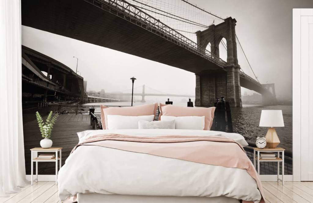 Schwarzweiß Tapete - Brooklyn Bridge - Jugendzimmer 2