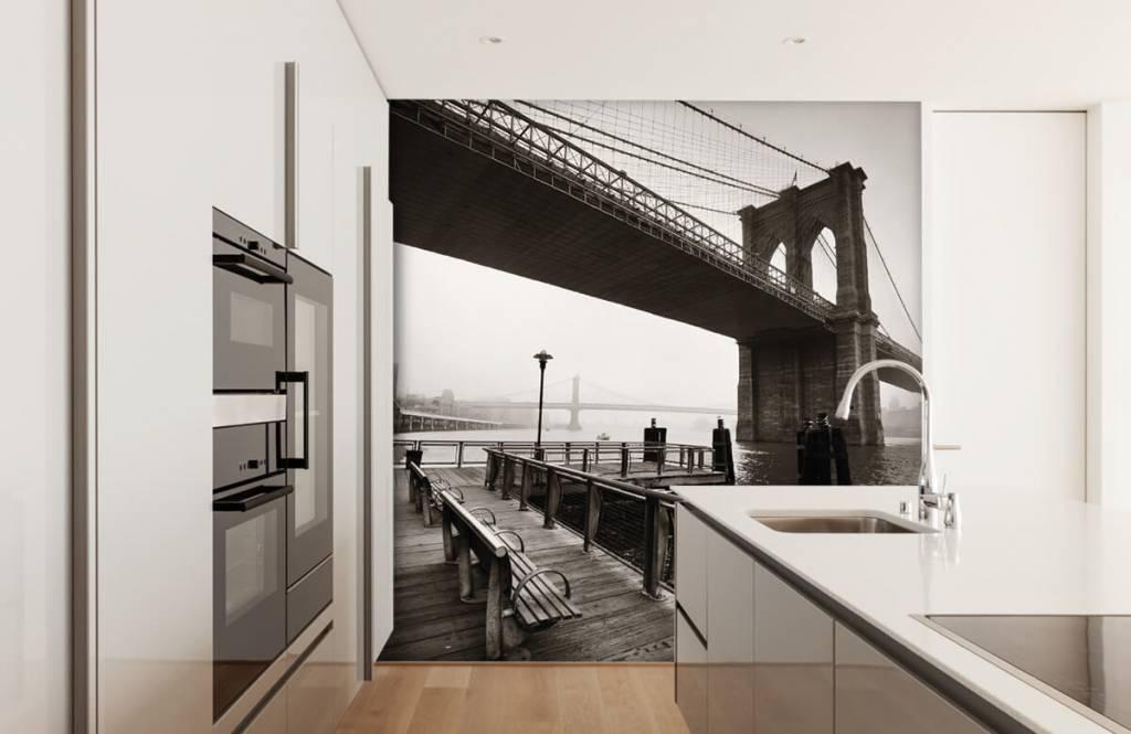 Schwarzweiß Tapete - Brooklyn Bridge - Jugendzimmer 4