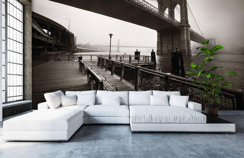 Schwarzweiß Tapete - Brooklyn Bridge - Jugendzimmer 6