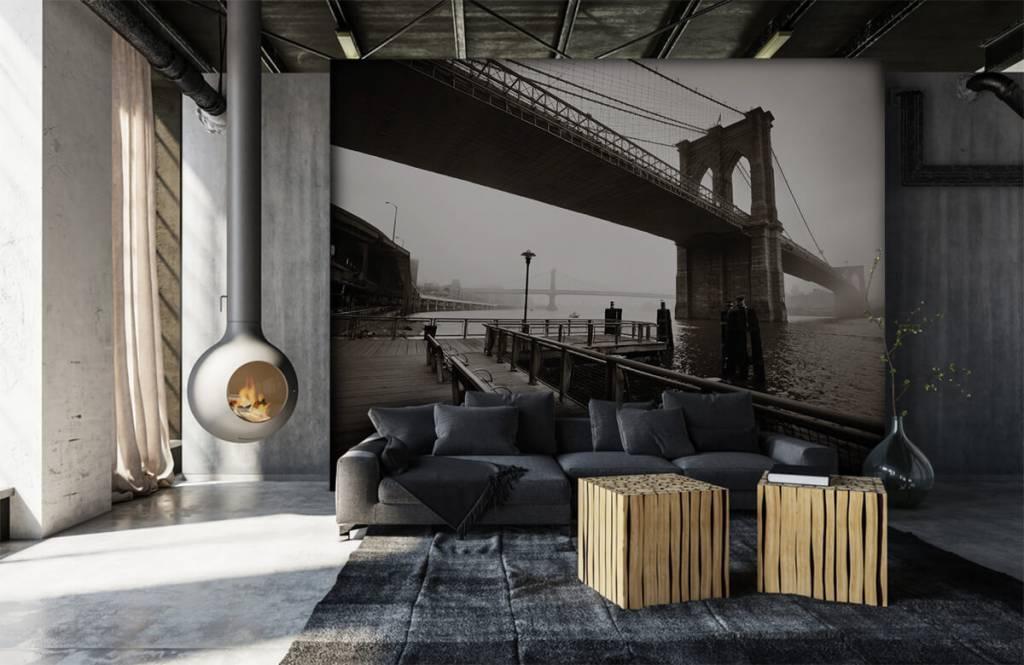 Schwarzweiß Tapete - Brooklyn Bridge - Jugendzimmer 7