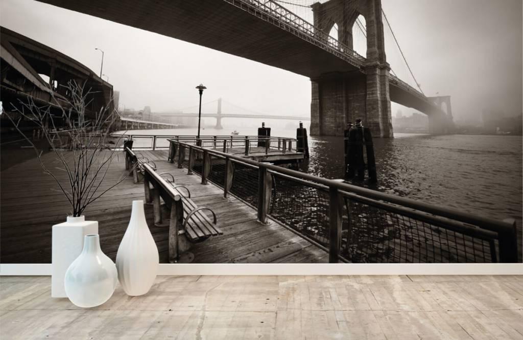 Schwarzweiß Tapete - Brooklyn Bridge - Jugendzimmer 8
