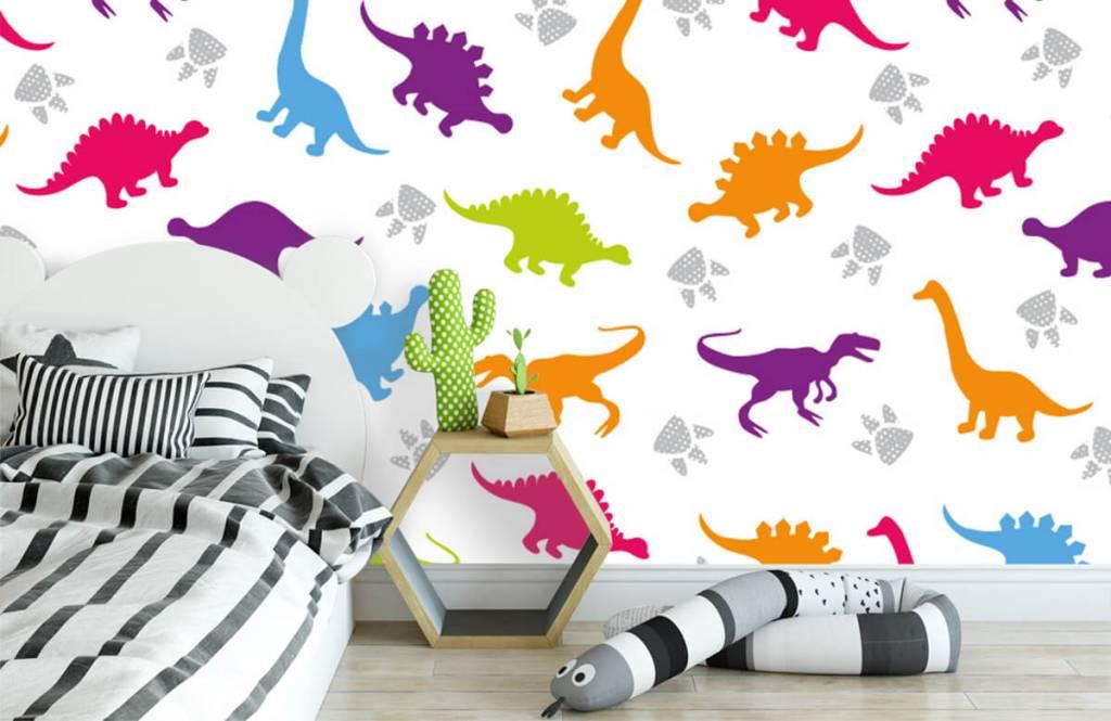 Jungenzimmer Tapete - Dinosaurier und Pfoten - Kinderzimmer 1