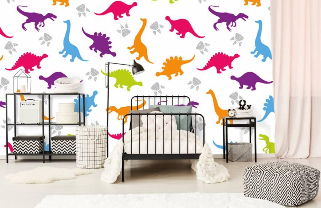 Jungenzimmer Tapete - Dinosaurier und Pfoten - Kinderzimmer 2