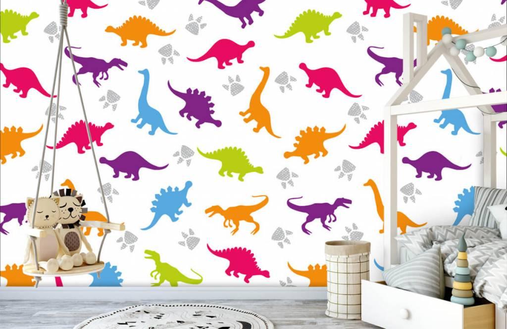 Jungenzimmer Tapete - Dinosaurier und Pfoten - Kinderzimmer 3