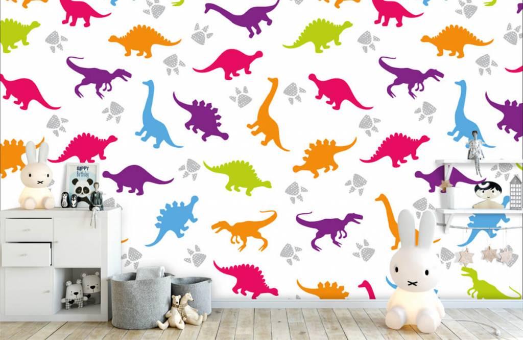 Jungenzimmer Tapete - Dinosaurier und Pfoten - Kinderzimmer 4