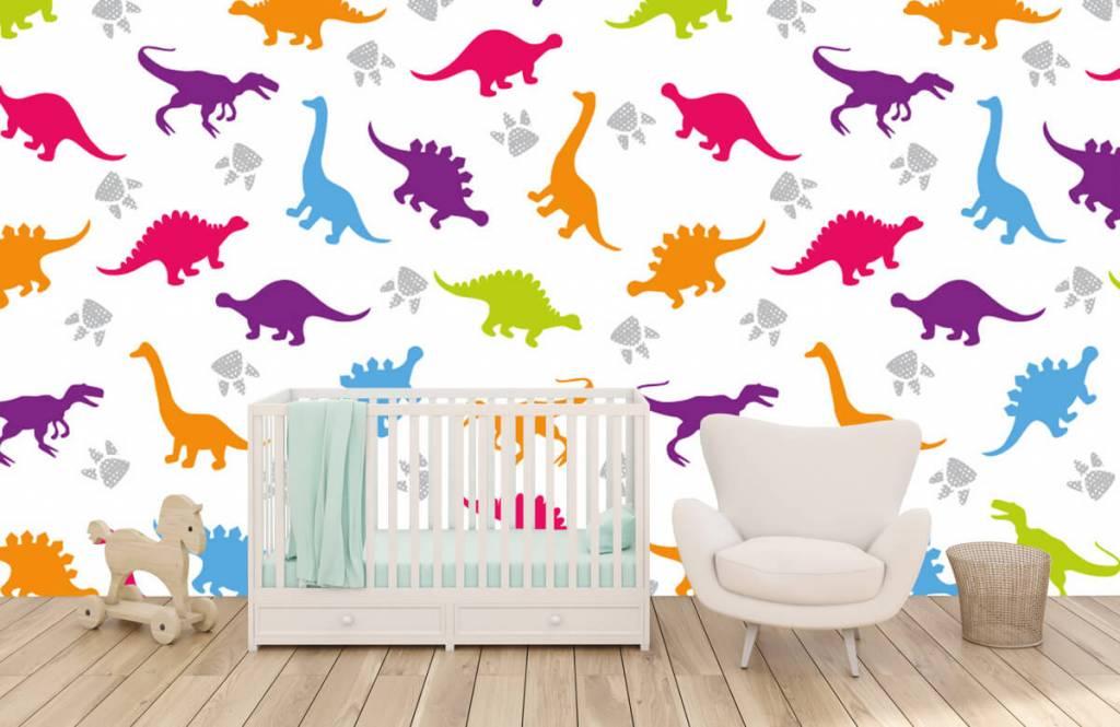 Jungenzimmer Tapete - Dinosaurier und Pfoten - Kinderzimmer 5
