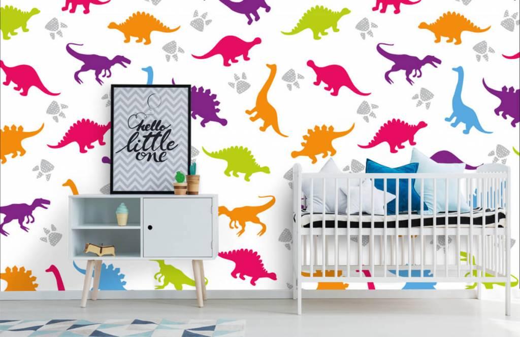 Jungenzimmer Tapete - Dinosaurier und Pfoten - Kinderzimmer 6