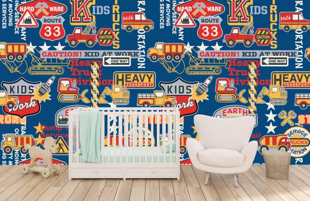 Tapete mit Texte - Baustellenverkehr Kids - Kinderzimmer 2