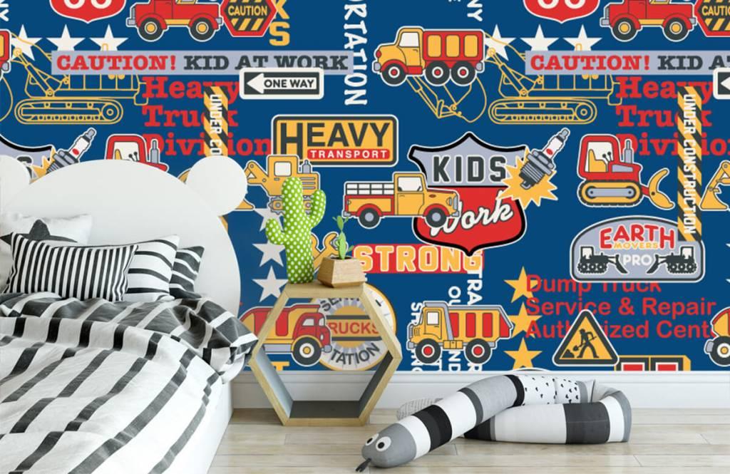 Tapete mit Texte - Baustellenverkehr Kids - Kinderzimmer 3
