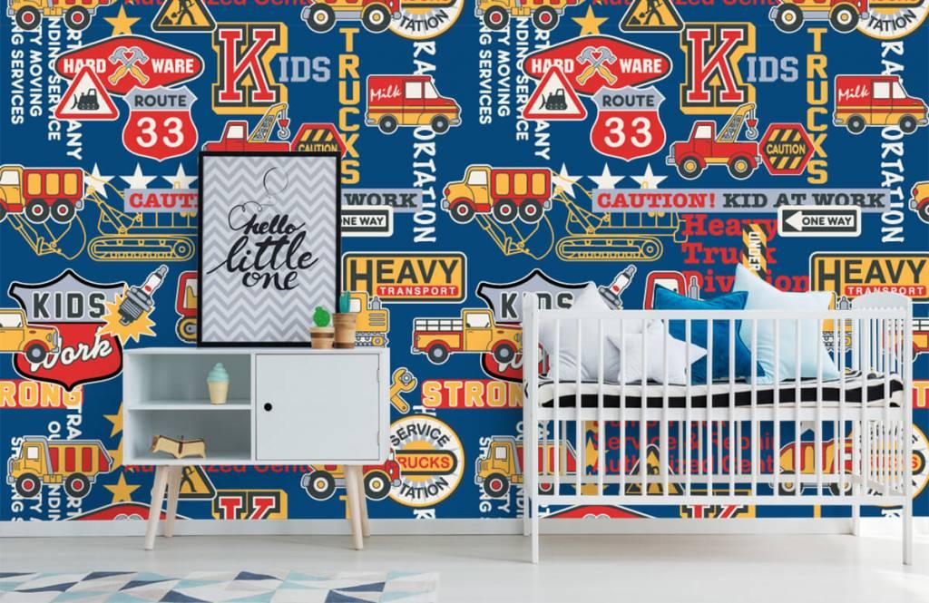 Tapete mit Texte - Baustellenverkehr Kids - Kinderzimmer 5