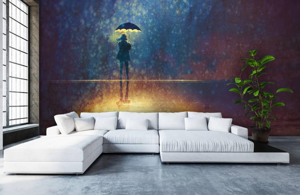 Moderne Tapete - Einsames Mädchen im Regen - Hobbyzimmer 1