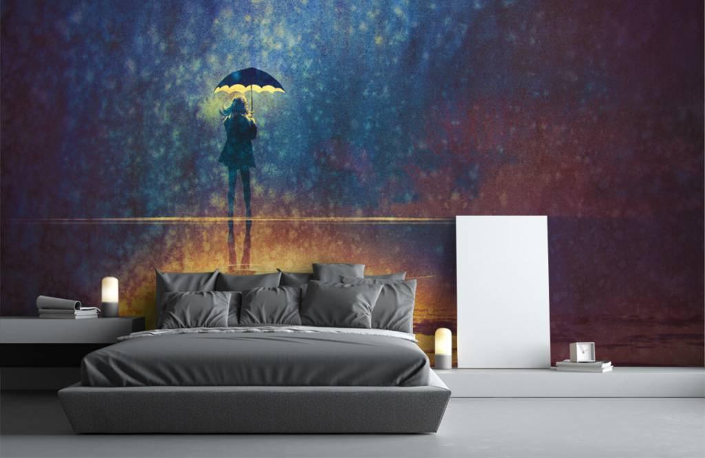Moderne Tapete - Einsames Mädchen im Regen - Hobbyzimmer 3