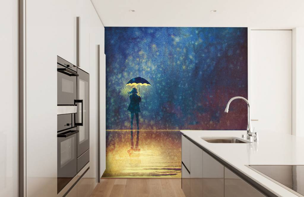 Moderne Tapete - Einsames Mädchen im Regen - Hobbyzimmer 4
