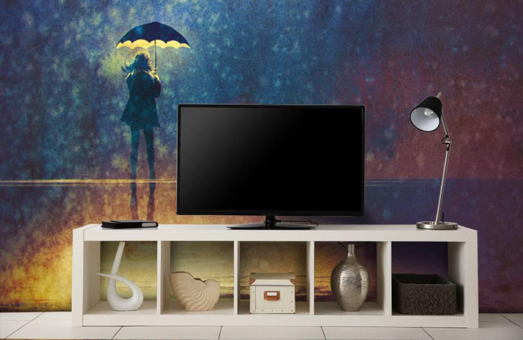 Moderne Tapete - Einsames Mädchen im Regen - Hobbyzimmer 5