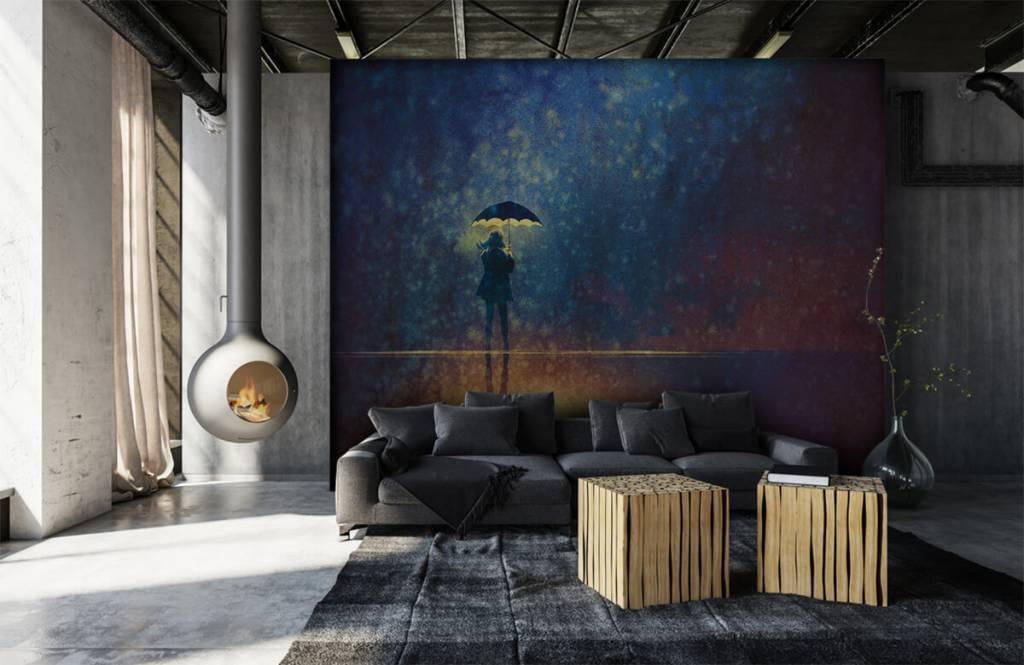 Moderne Tapete - Einsames Mädchen im Regen - Hobbyzimmer 6