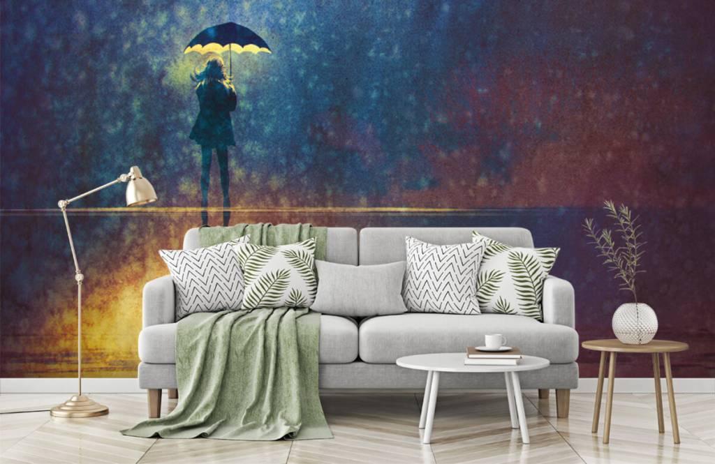 Moderne Tapete - Einsames Mädchen im Regen - Hobbyzimmer 7