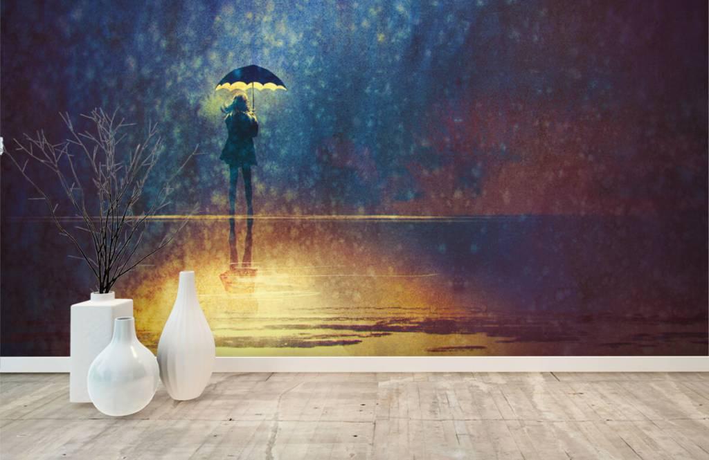 Moderne Tapete - Einsames Mädchen im Regen - Hobbyzimmer 8