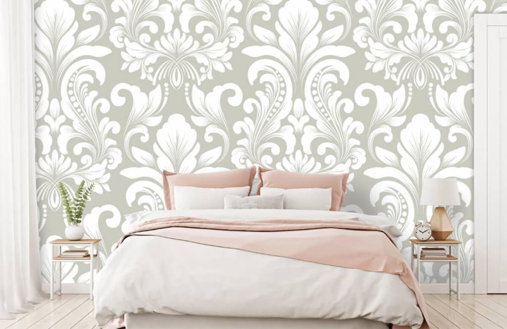 Barock Tapete - Damastmuster grau - Schlafzimmer 2