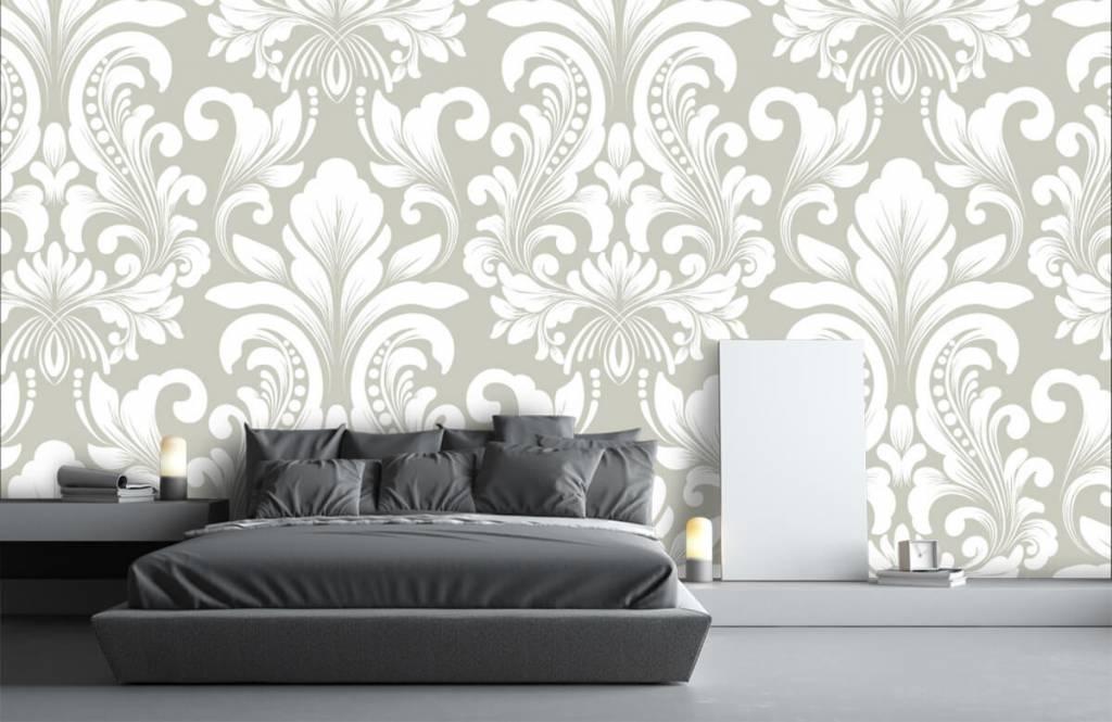 Barock Tapete - Damastmuster grau - Schlafzimmer 3