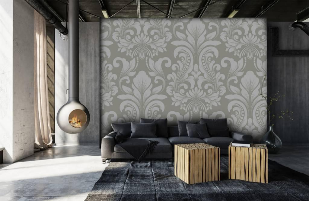 Barock Tapete - Damastmuster grau - Schlafzimmer 7