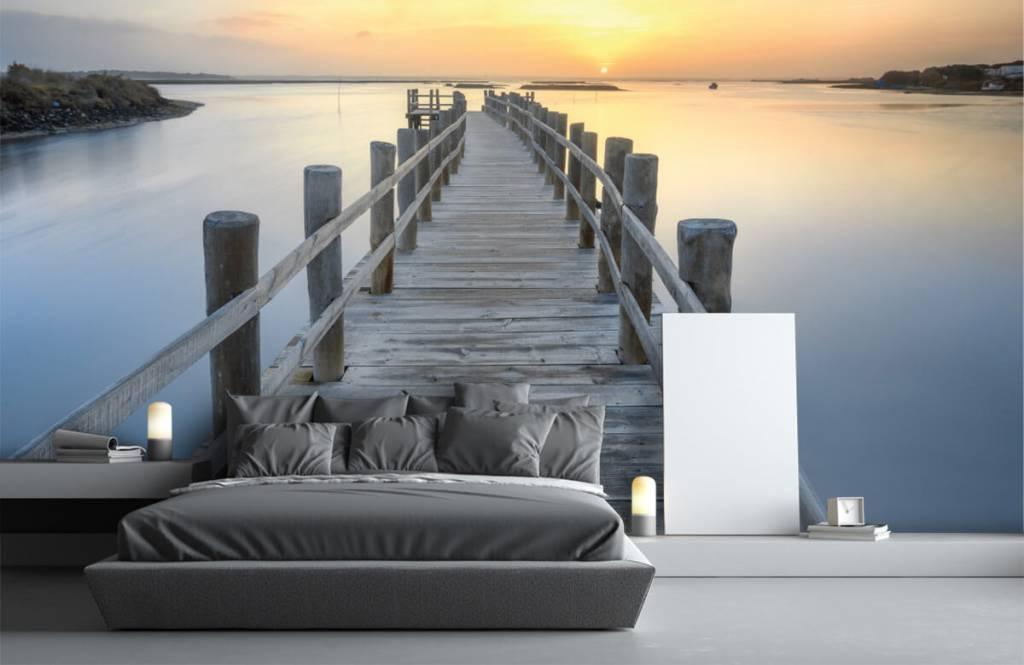 Seen und Gewässer - Anlegestelle bei Sonnenuntergang - Wohnzimmer 3