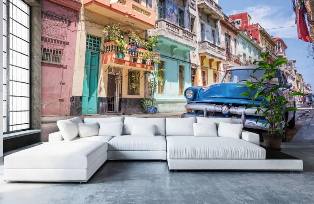 Verkehrsmittel tapete - Blauer Oldtimer in Kuba - Schlafzimmer 1
