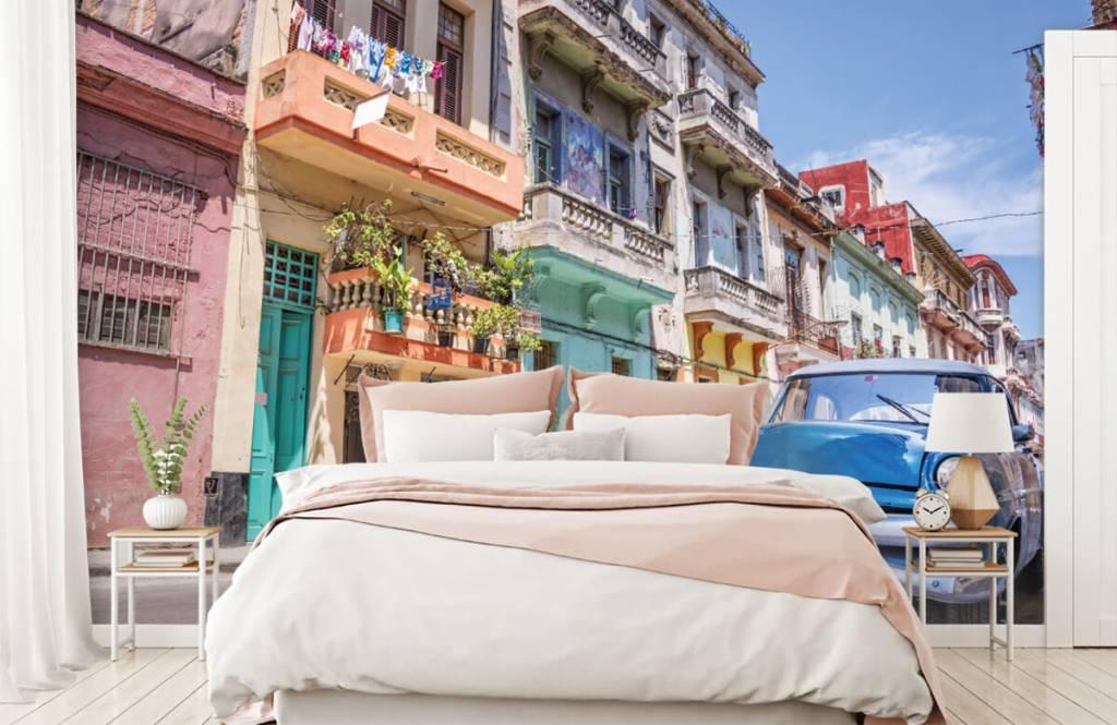 Verkehrsmittel tapete - Blauer Oldtimer in Kuba - Schlafzimmer 2