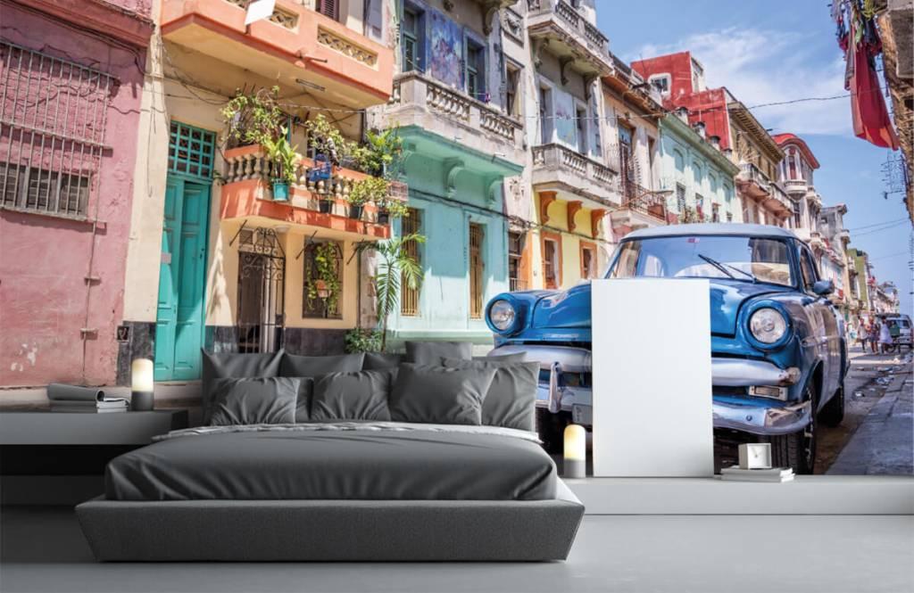 Verkehrsmittel tapete - Blauer Oldtimer in Kuba - Schlafzimmer 3