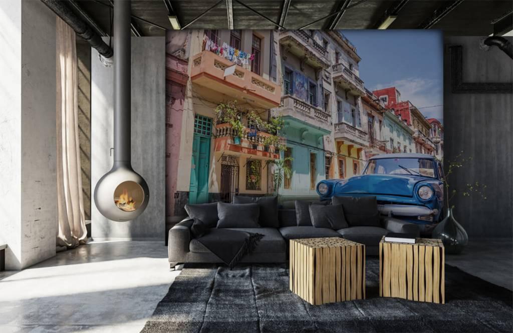 Verkehrsmittel tapete - Blauer Oldtimer in Kuba - Schlafzimmer 6