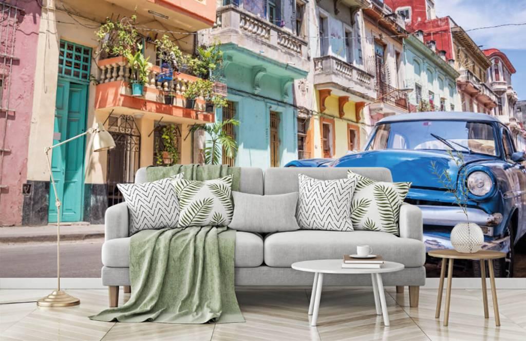 Verkehrsmittel tapete - Blauer Oldtimer in Kuba - Schlafzimmer 7