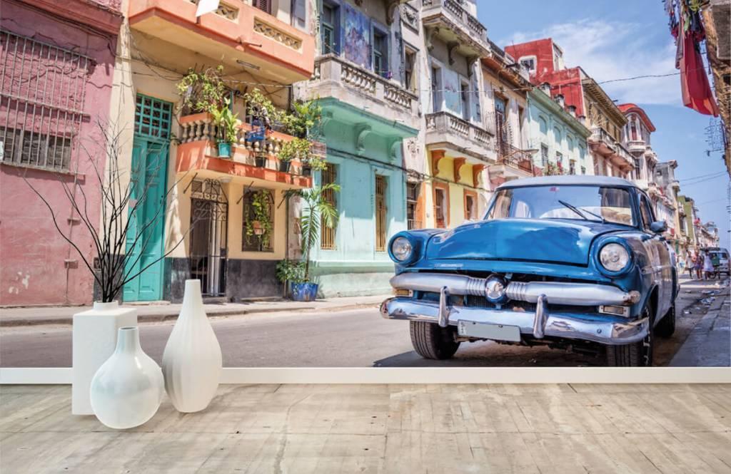 Verkehrsmittel tapete - Blauer Oldtimer in Kuba - Schlafzimmer 8