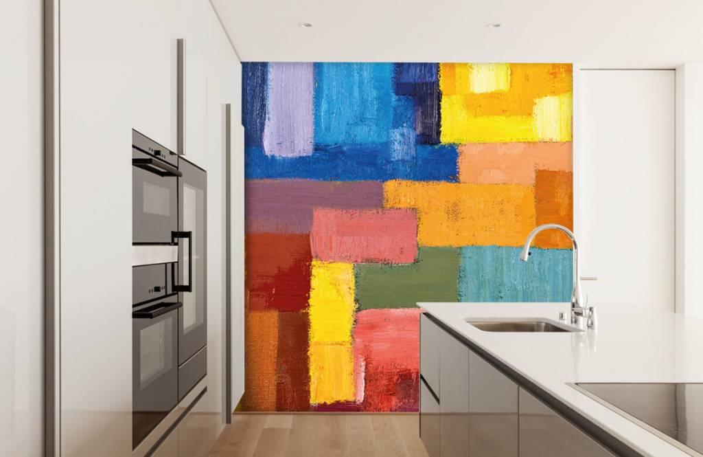 Abstrakte Tapete - Bunte Flächenverteilung - Wohnzimmer 4