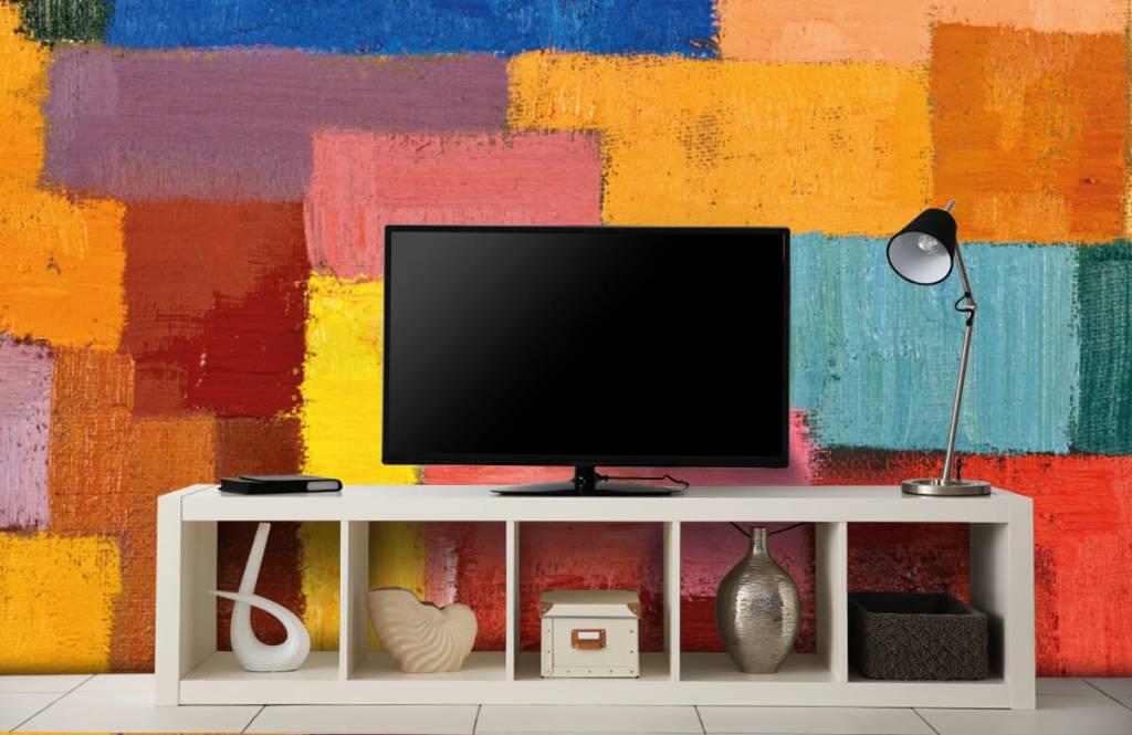 Abstrakte Tapete - Bunte Flächenverteilung - Wohnzimmer 5