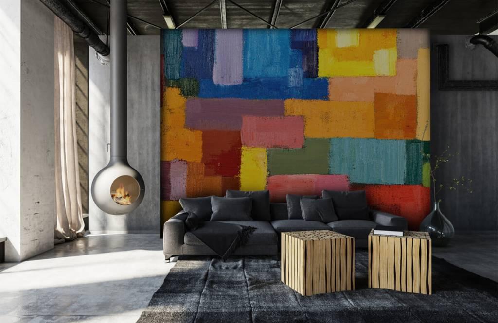 Abstrakte Tapete - Bunte Flächenverteilung - Wohnzimmer 6
