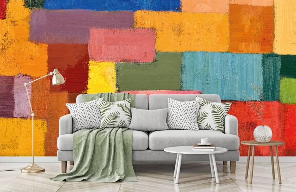 Abstrakte Tapete - Bunte Flächenverteilung - Wohnzimmer 7