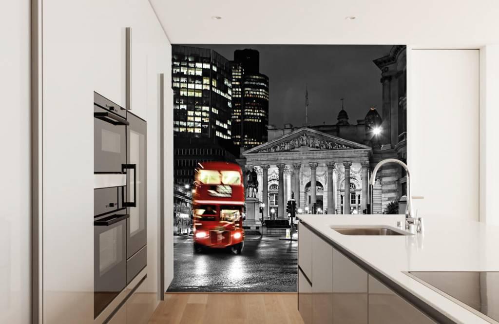 Schwarzweiß Tapete - Bus in Londen - Jugendzimmer 4