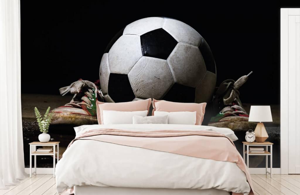 Fußball Tapete - Fußball mit Turnschuhen - Kinderzimmer 2