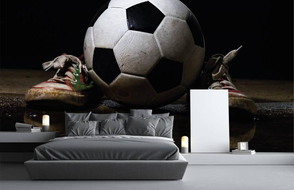 Fußball Tapete - Fußball mit Turnschuhen - Kinderzimmer 3
